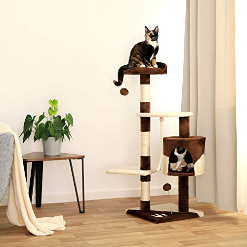 Katzenkratzbaum, Kratzbaum für Katzen 112 cm Höhe (braun / beige) - 2