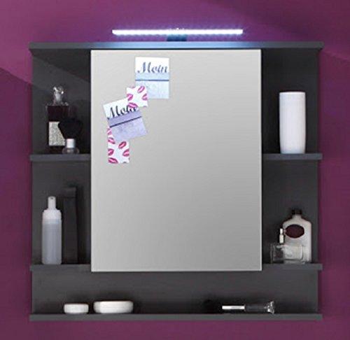 Dreams4Home Spiegelschrank 'Max IV' - Wandschrank, Spiegel, Badschrank, Badezimmerschrank, 1 Tür, 1 Einlegeboden, 5 offene Fächer, 72 x 76 x 20 cm, FSC-K: 70%, Graphit Nachbildung, Made in EU