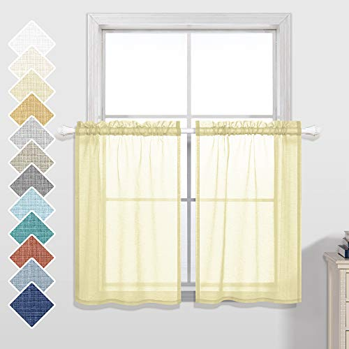 Yellow Kitchen Curtains 24 Inch Length Set 2 Panels Rod Pocket Short Semi Sheer Linen Look Cafe Curtain Tiers for Small Windows 30 by 24 Inches Long