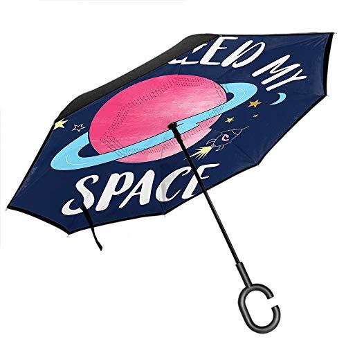 Dliuxf Planet Umbrella Universe Rocket Stars Moon Zitieren Ich Brauche Mein Weltraumauto Reverse Inverted Windproof UV-Schutz Regenschirm Navy Blue Pink -K117
