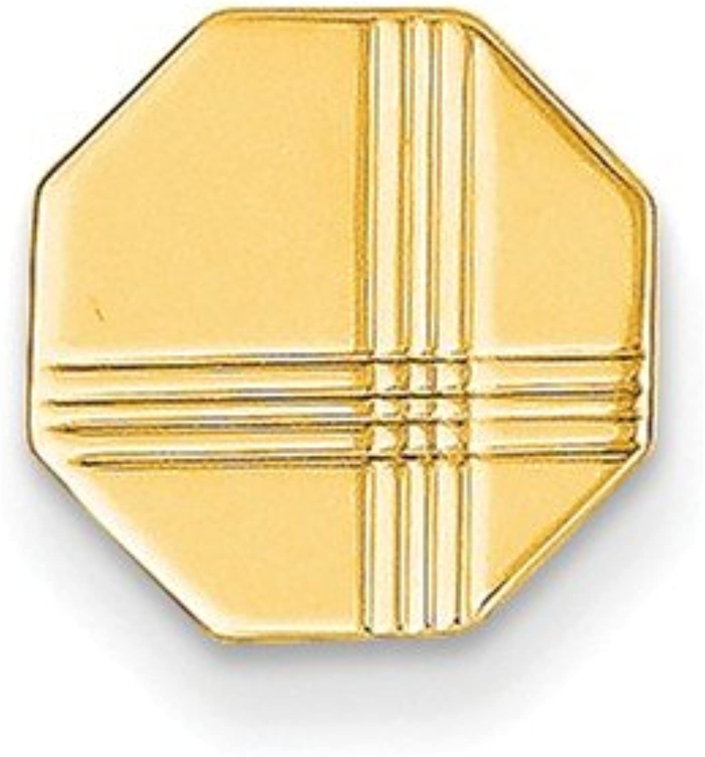 14k Yellow gold Polished Engravable Tie Tac