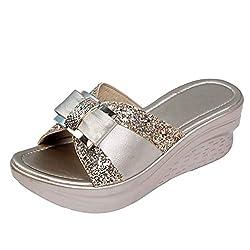 Rhinestone Bow Slip On Open Toe Slides Gold Sandal