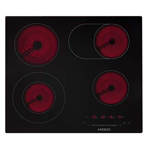 AREBOS Glaskeramikkochfeld | 7200 W | 4 Kochfelder | 59 cm | autark | inkl. Dual-Kochzone und Bräterzone | mit Sensor Touch | Kindersicherung | Überhitzungsschutz | Autoabschaltung