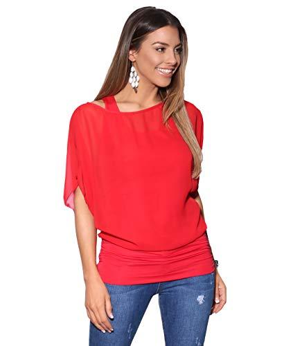 Blusas Camisas Mujer Elegante Grande Top Bonita Fiesta Transparente Juvenil Tallas Grandes Fiesta Moda, (Rojo (3559), 52 EU (24UK)), 3559-RED-24