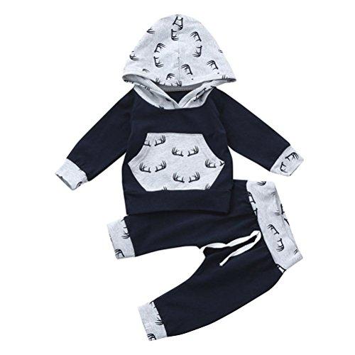Bébé Ensemble de Vêtements,LMMVP Bébé Enfant Garçon Fille Dessus à Capuche Imprimé à Manches Longues + Pantalons Vêtements 0-24 mois (80(10-12M), Gris)