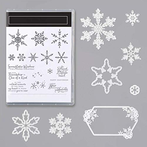 Snowflake Lable Metal Cutting Dies and Matched Stamp Sets Snowflake Wishes, Friendship is one of a kind,May your season sparkle Greetings Words Silicone Gel Stamps Xmas Crafts die-cuts for card making
