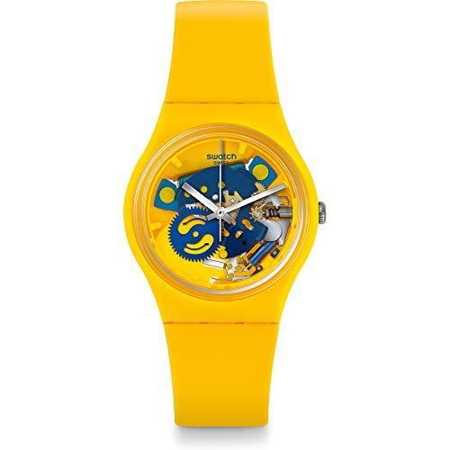 Reloj Unisex Swatch, Correa de Silicona Amarilla de 34 mm, Caja de plástico, Cuarzo Suizo, analógico GJ136