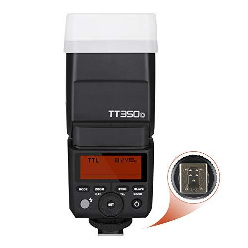 Godox TT350C TTL Mini Flash para Canon cámara, Flash electrónico 2.4G HSS 1 / 8000s TTL GN36 para cámaras Digitales sin Espejo Canon