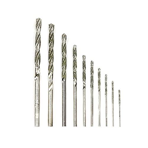 10pcs Diamante Recubrido Twist Bit Bit Set 0.8mm-4.0mm Bit de perforación para la baldosa de vidrio Piedra con punta inclinada Bit