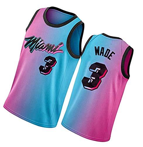 Camisetas de baloncesto Wade para hombre, camiseta de baloncesto sin mangas de tela transpirable #3 rosa/azul chaleco