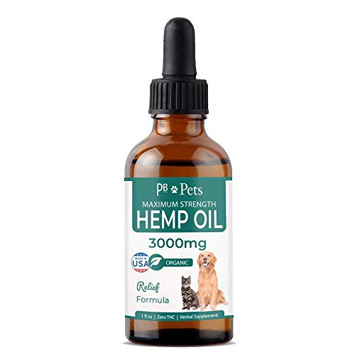 Hemp Oil for Dogs and Cats (3000mg) - Organically Grown & Made in USA - Pet Relief Formula Relieves Anxiety, Supports Hip & Joint Health, Naturally Relieves Pain, Herbal Supplement