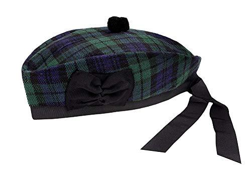 SHYNE KILTS U.K Reloj Negro Tartán 100% Lana Glengarry Sombrero Escocés Highland Atuendo - Negro/Verde, Negro/Verde, 57
