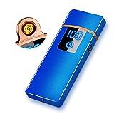 RiverMolars Y35 Encendedor Eléctrico, Mechero Recargable USB, Pantalla Táctil, a Prueba de Viento, sin Gas/Llama, Indicador de Batería, para Cigarrillos Velas Cocina Camping Barbacoa (Azul Cepillado)