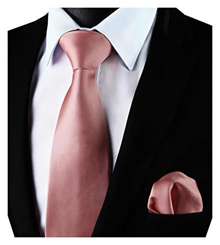Enlision Einfarbig rosa Krawatte und Einstecktuch Krawattensatz fur Manner