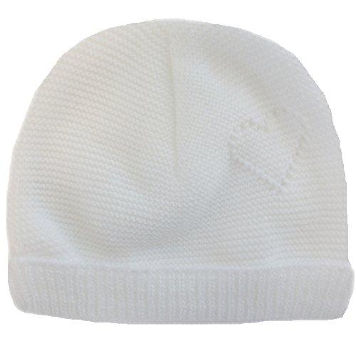 MLT Bonnet de Naissance bébé cœur (Blanc), tricoté en France dans Les Pyrénées