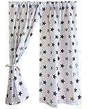 GooseBoose Spielhaus-Vorhänge ~ graue Sterne ~ Sommer Haus Vorhänge