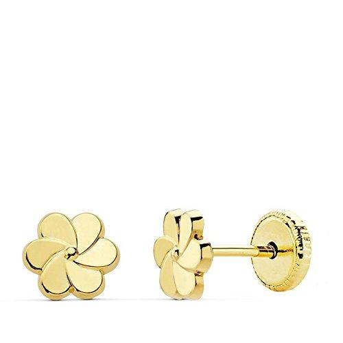 Pendientes niña bebé Mini Flor Petalos Oro Amarillo 18 Ktes