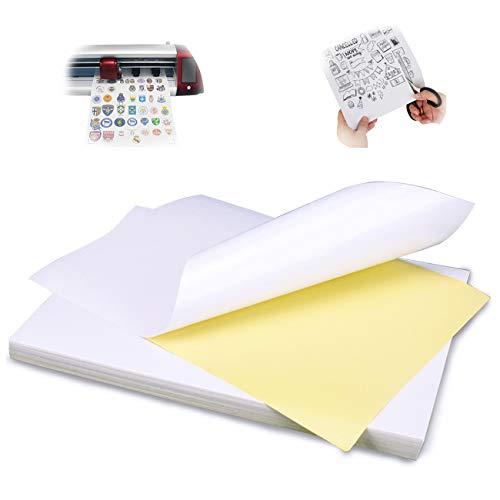 Magicdo Universal Etikett bedruckbar 65 Stück 210 x 297 mm, Glossy Aufkleber Papier weiß selbstklebend bedruckbar für Laser- und Tintenstrahldrucker Drucker - 100 DIN A4 Selbstklebend Aufkleber