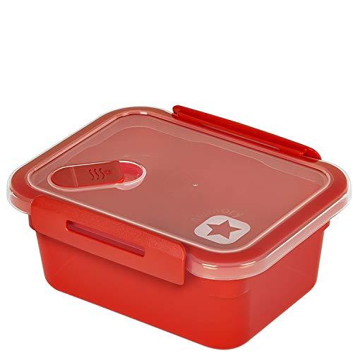 Rotho Memory Mikrowellendose 0,6l mit Deckel und Ventil, Kunststoff (PP) BPA-frei, rot, 0,6l (15,0 x 12,0 x 6,8 cm)