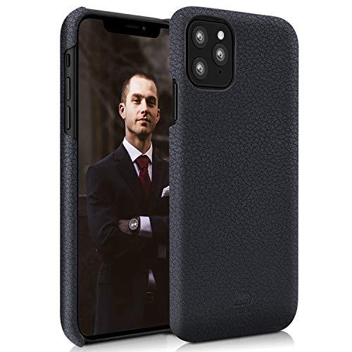 iPhone 11 Pro Lederhülle, echtes Leder, iPhone Hülle [unterstützt kabelloses Laden] [Kratzfest] [Fallschutz] Texturierte & Brieftaschenstile (Black BackHülle-11 Pro)