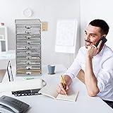 Relaxdays, Silber Schubladenbox, 10 Schubfächer, für Din A4 Dokumente, Ordnungssystem für Schreibtisch, Aktenablage, Standard