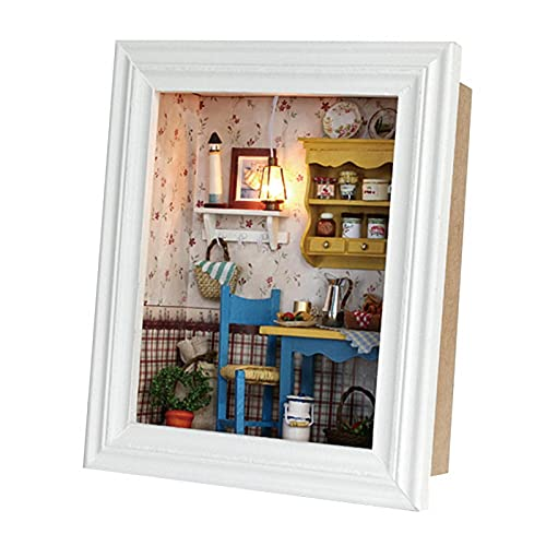 Casa de muñecas de bricolaje, duradera Kit de casa de muñecas de bricolaje Diseño de marco Mini kit de casa con muebles Regalos de cumpleaños Decoración del hogar Regalo de cumpleaños