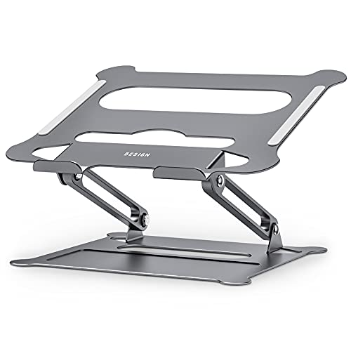 Besign LS05 Aluminum Laptop Stand, Ergonomic Adjustable Notebook Stand, Riser Holder Computer Stand Compatible with Air, Pro, Dell, HP, Lenovo More 10-15.6' Laptops (Grey)