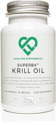 LLS Superba Krill Oil | Sustainably Fished by Aker BioMarine | 500mg x 60 Softgels | for Healthy Heart, Joints and Immune Support | Made in UK Under GMP License