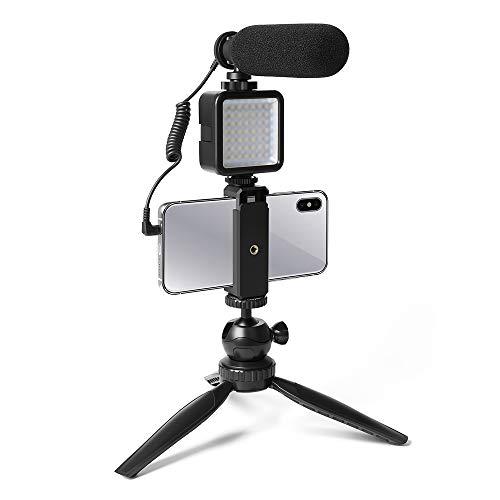 Smartphone-Kamera-Video Mikrofon-Kit,UHURU UCM-11PL Super-Cardioid-Shotgun-Podcast-Mikrofon mit LED-Licht,Stativ einstellen, Mini-Kugelkopf,Telefonhalter,kompatibel mit Telefon, Kamera,Camcorder,PC