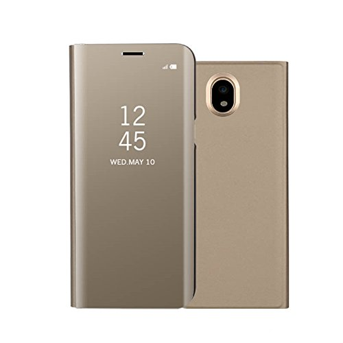 Funda Espejo Enchapado Flip Funda para Samsung Galaxy J5(2017)/Samsung Galaxy J530 (Oro)