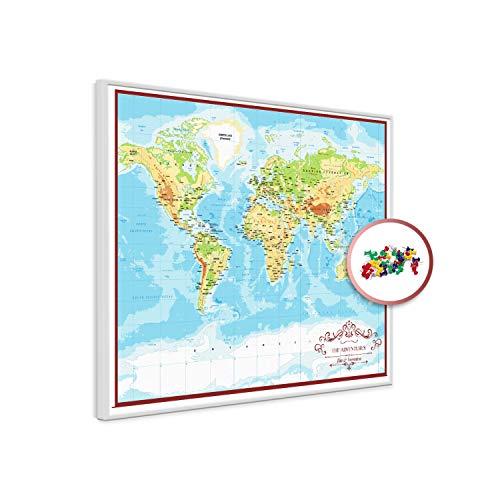 PinDeineWelt - Hochwertige GEOGRAPHISCHE Reise Pinnwand Weltkarte - Pinnwand XXL - Personalisiert mit [Namen] – inkl. WEIßEM ECHTHOLZRAHMEN mit Pins und PERSONALISIERUNG, Größe: 100x135 cm