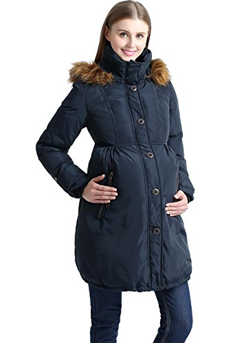 Momo Maternity Outerwear Lily Hooded Cinch Waist Down Parka Coat Pregnancy Winter Jacket Steel Gray Medium
