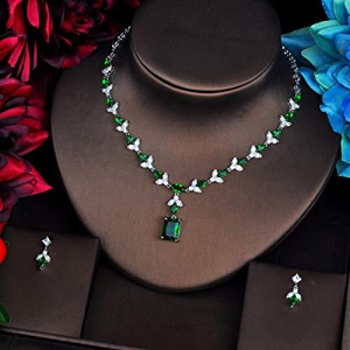 LIYDENG Juego de joyas de diseño elegante verde con circonita cúbica para mujer, collar y accesorios de vestir de moda para regalo de compromiso (color chapado en platino)