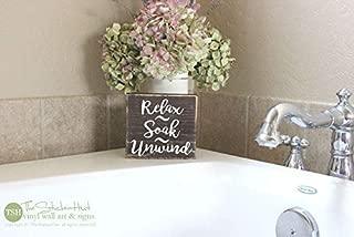 Relax Soak Unwind Mini Block Kids Bathroom Decor Funny Sayings Quotes Small Mini Block Antique Cabin Wall Art Decoration Wooden Plaque Sign