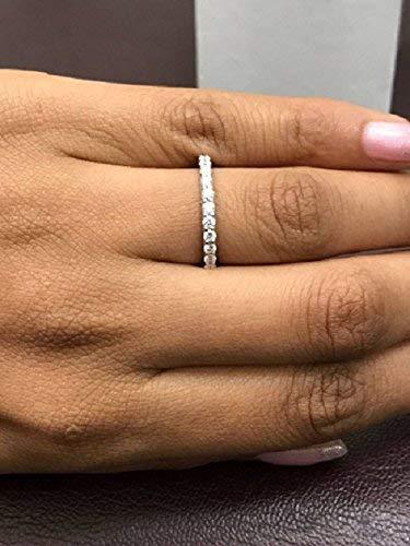 Amazon Com Single Row Diamond Wedding Band In 14k White Gold Natural Diamonds Handmade
