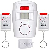 Wireless Motion Sensor Alarm PIR Infrared Battery Powered With 2 Remote Controls Shed Wall Mounting Bracket Home Security For Shed Garage Caravans