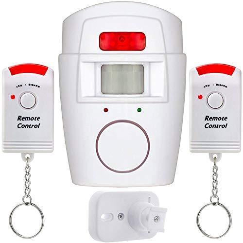 Top-Vigor Alarme sans Fil avec détecteur de Mouvement PIR alimentée par Piles avec 2 télécommandes pour abri de Jardin, Garage, caravanes