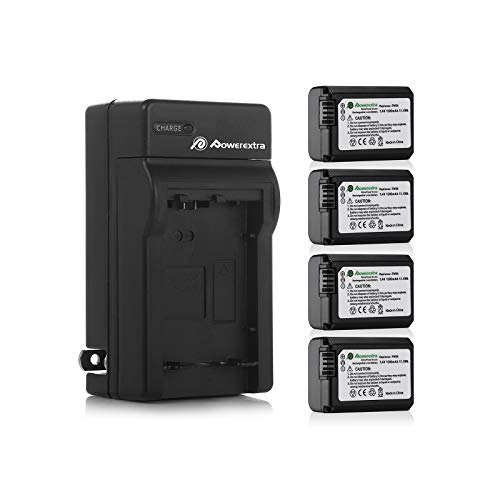 Powerextra Battery (4-Pack) and Charger for Sony...
