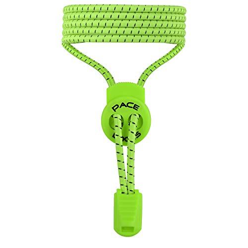 ALPHAPACE Pace Locks Elastische Schnürsenkel, Schuhbänder ohne Schnüren, Slip-on Schnellverschluss für Sport, Jugend & ältere Menschen, 120 cm, 1-Paar in Grün