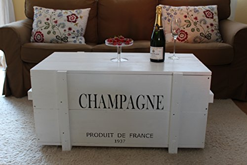 Uncle Joe, cassapanca in legno, stile vintage shabby chic, motivo cassa per champagne, bianco, grande, 98x 55x 46cm