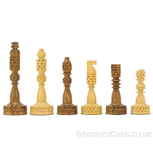 The Regency Chess Company Torre Serie Intagliato Sheesham e Legno di bosso Scacchi Pezzi