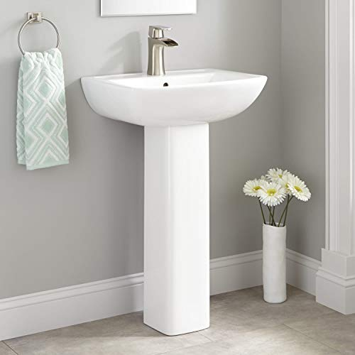 "Signature Hardware 936358 Kerr 22"" Vitreous China Pedestal Bathroom Sink with Single Faucet Hole and Overflow"