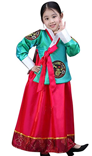 CRB Fashion Girls Traditional Kids Korean Hanbok Outfit Dress Costume (120cm, Green Red)