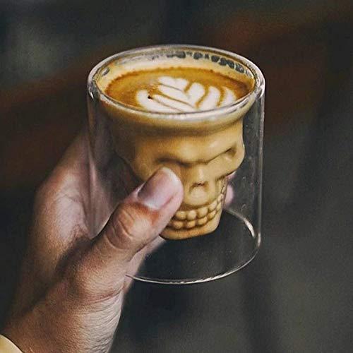 DOROCH Skull Wine Glass Mug Latte Coffee Whiskey Transparent Glass Cup Vodka Drinking Bar Club Wine Glass (Capacity : 4pcs, Color : 120ml)