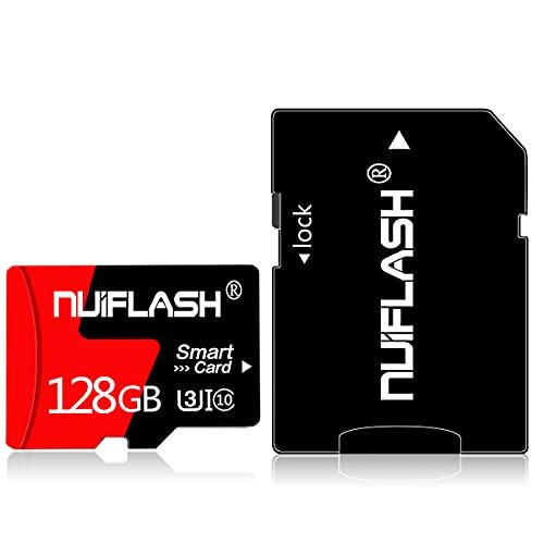 Tarjeta de memoria Micro de 128 GB, clase 10, con adaptador de tarjeta para smartphones Android, tabletas y un adaptador de tarjeta para cámara y PC