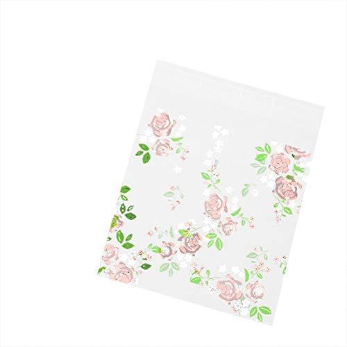 MoGist Lot de 100 sachets Auto-adhésifs en Plastique Motif Roses, Bunt L, 10 * 10cm+3cm