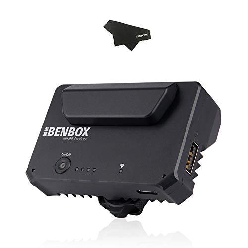 INKEE Benbox Wireless Video Transmitter, HDMI 1080p 5.8G WiFi Live Transmission to 3 Devices Built-in Cold Shoe, 50-80m Range, Supports Android(6.0 and Above)/iOS/Windows/Mac