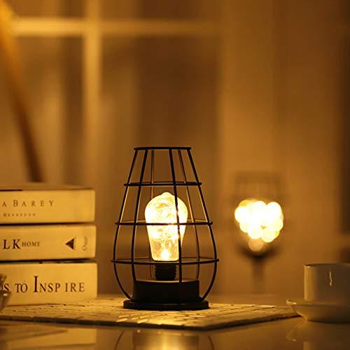 Lámpara de Mesa de Alambre de Metal Negro, Estilo Jaula de Hierro, Luz Nocturna, Funciona con Pilas, Lámpara de Mesita de Noche para Dormitorio (Jarra de Vino)