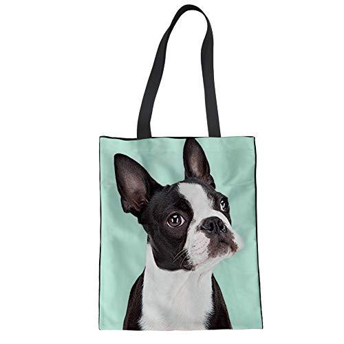 Nopersonality Damen-Einkaufstasche mit Tiermotiven, Segeltuch, leicht Tote L Boston Terrier