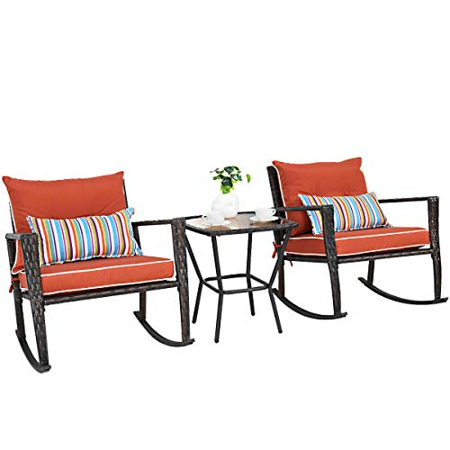 Heize best price Brown 3 PC Patio Rattan Wicker Furniture Set Rocking Chair Coffee Table Cushions(U.S. Stock)